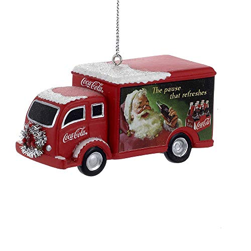 Kurt Adler Coca-Cola Truck With Silver Wreath Christmas Ornament