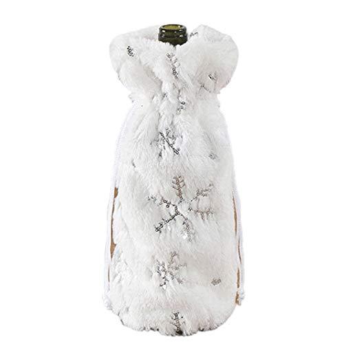 La decoración de navidad Botella de vino de Navidad Cubierta - Falso blanco de la piel de la felpa del copo de nieve del diamante de la lentejuela botella de vino bolsa utilizada for el invierno la ce