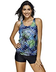 otrong Women's Tankini Set Swimwear Two Pieces Swimsuit athing Suits Small B