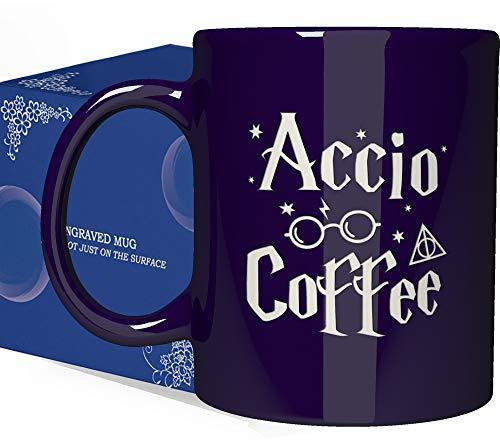 Engraved Ceramic Coffee Mug - Accio Coffee - 11 OZ - Inspirational And Sarcasm Mothers Fathers Day Gift Cup for Bonus Grand Mom Dad