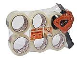 Brackit - Cinta de embalaje marrón con dispensador, 48 mm x 66 m, paquete de 6 rollos, cinta de embalaje resistente para uso diario o mudanzas, sellado fácil de paquetes y cajas