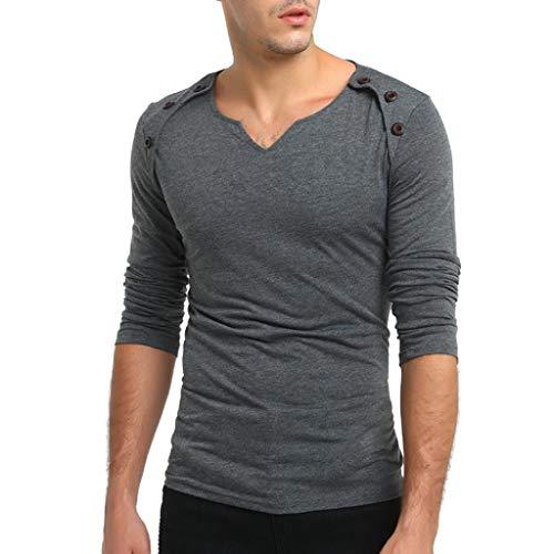 UJUNAOR Herren Herbst Pure Color Langarm Herzförmiger Pullover Fastener Sweatshirts Top Bluse(M,Dunkelgrau)