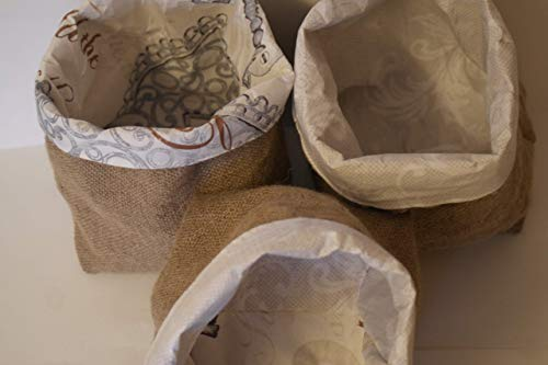 Large recycled fabric hessian lined basket
