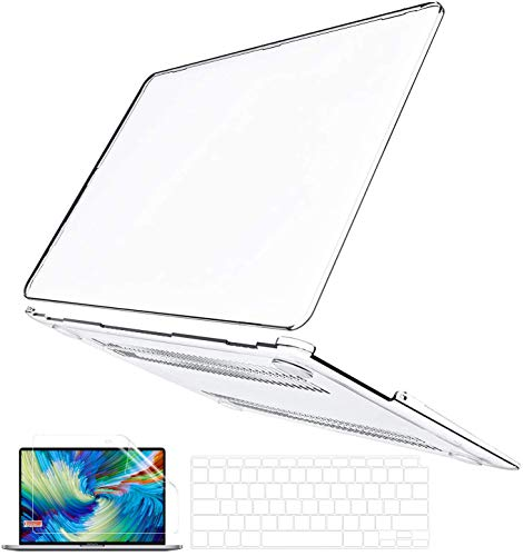 BELK MacBook Air 13 inch Case 2020 2019 2018 Release A2337 M1 A2179 A1932, Crystal Clear Plastic Hard Shell Cover + Keyboard Cover + Screen Protector Retina Display & Touch ID, Mac Air 2020 Clear Case
