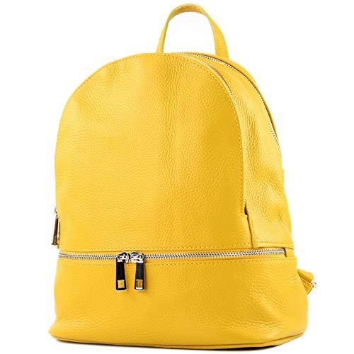 modamoda de - T137 Leder - ital Damen Rucksack Leder oder Nappaleder, Farbe:T137Leder-Gelb