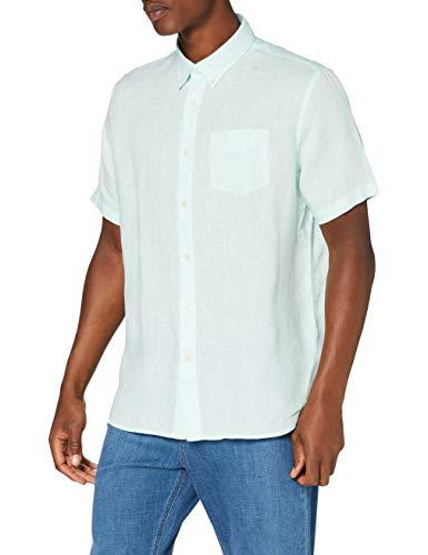 Marca Amazon - find. Camisa de Lino de Manga Corta Hombre, Verde (Aqua), L, Label: L