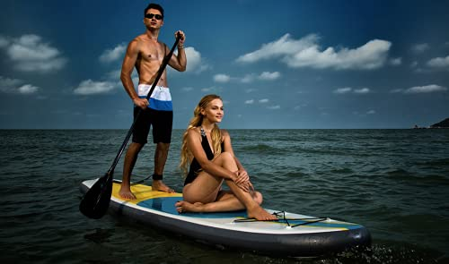 """Blue Water Toys 11' Premium Inflatable Stand Up Paddle Board Set (34"""" Width)   Improved Stability and Extra Support   Ocean Riding, Yoga   SUP 350lb Limit (Black) (Turquoise/Yellow)"""