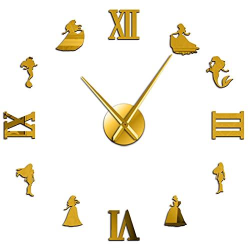xinxin Reloj de Pared Sirena y Princesa DIY Reloj de Pared Estilo de Cuento de Hadas Reloj de Pared sin Marco decoración de habitación...