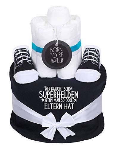 Trend Mama coole Windeltorte Junge schwarz- Babysocken + handbedruckt Lätzchen mit Spruch -Wer braucht schon Superhelden wenn man so coole Eltern hat