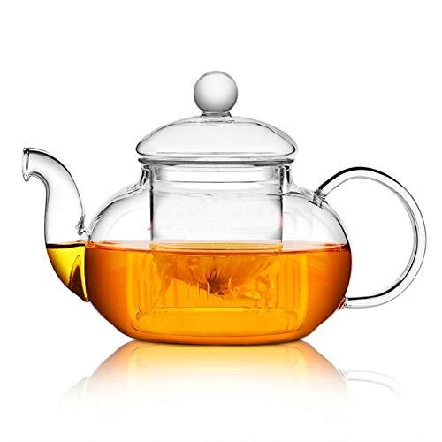 Tetera De alta calidad resistente al calor de cristal flor del pote del té, Botella práctica flor taza de té Tetera de cristal con Infusor hoja de té Café de Hierbas cyber monday (Color : 800ml)