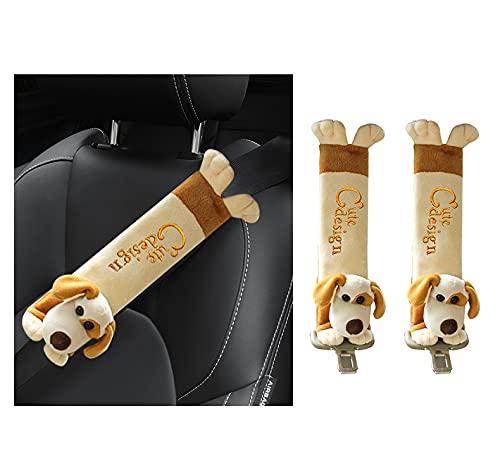 Caudblor 2 Stück Gurtpolster Auto für Kinder, Cartoon Design Sicherheits Sicherheitsgurt Schulterpolster Schulterkissen Autositze Gurtpolster (Hund)