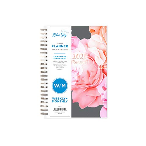 Blue Sky 2021 Weekly Monthly Planner Frosted Flexible Cover Twin-Wire Binding 5 x 8 Joselyn