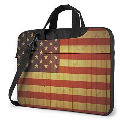 Bolso para computadora portátil con Bandera de Madera de EE. UU, Portátil Compatible con MacBook Pro, Bolso Que Lleva