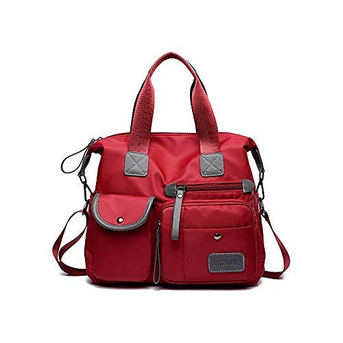 MIMI KING Damenmode wasserdichte Oxford Einkaufstasche beiläufige Nylon Umhängetasche Mama Beutel große Kapazitäts Tasche,Rot