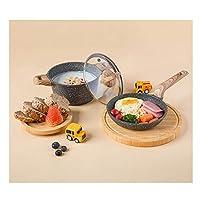 フライパン 鍋, アルミ合金鍋セットのコーティングされていない鍋やフライパンアンチ熱傷ベークライトハンドル調理器具はガラスふたアルミ調理器具セットを