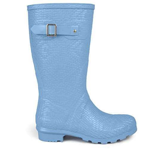 Brinley Co. Womens Drench Mid-Calf Textured Basketweave Rubber Rainboots Blue, 9 Regular US