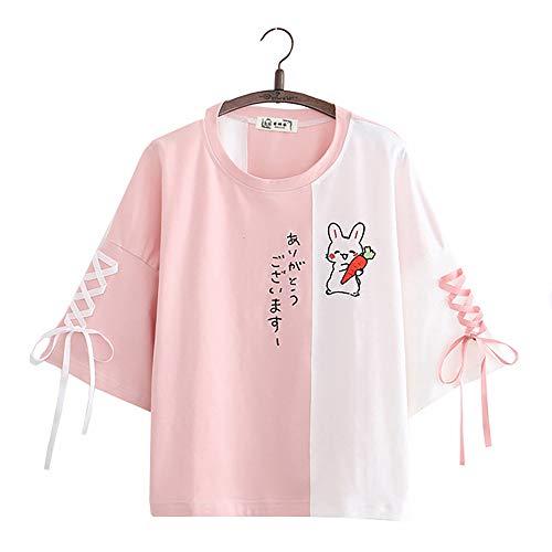 Vdual Carina Giapponese Coniglio Carota Pizzo su Colore Bloccare Maglietta per Donne Ragazze Adolescente