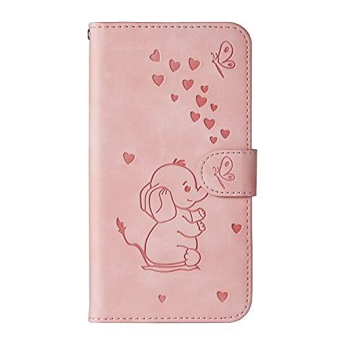 Ailisi Samsung Galaxy A50 Hülle, Karikatur Elefantenbaby Muster Leder Handyhülle Brieftasche Schutzhülle Leder Flip Hülle Wallet Cover Klapphüllen Tasche Etui mit Kartenfächern+Stand -Rosa