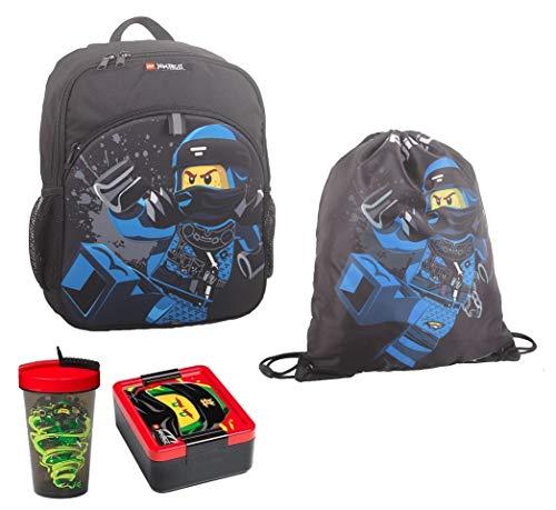 Familando Lego Ninjago Rucksack-Set 4tlg. mit Turnbeutel, Brotdose und Trinkflasche z.B. für den Kindergarten (Blauer Ninja Jay)