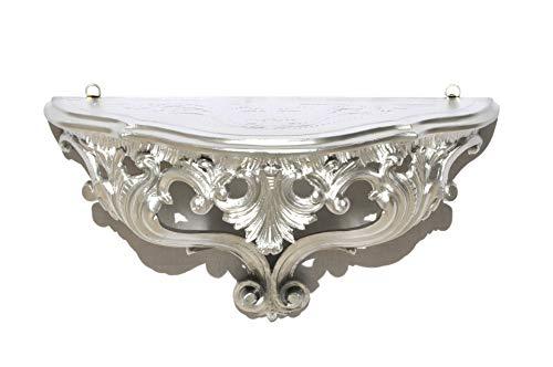 Ideacasa Mensola Consolle Argentata Argento Stile Barocco Luigi XVI Finto Vintage cm 20x38,5x15,5
