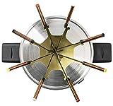 Bestron Fondue Set für bis zu 8 Personen, Stufenloser Temperaturschalter, Spritzschutz, Kupfer - 4