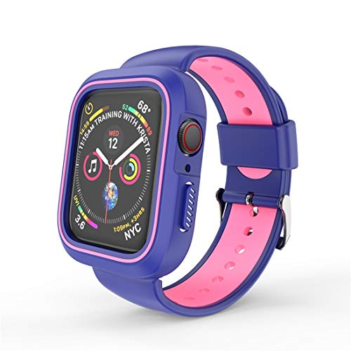 N/A Sports Watch Band Replacement Strap Zwei Farbe Conjoined Sport Armband Uhr-Kasten for Apple-Uhr-Serie 4 44mm (schwarz) (Color : Pink Blue)