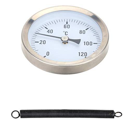 Lorsoul Calefacción Caliente del Tubo de Agua de Acero Inoxidable 120º termómetro bimetálico Pipe Temperatura a Prueba de Agua Reloj de medición de 63 mm Temperatura