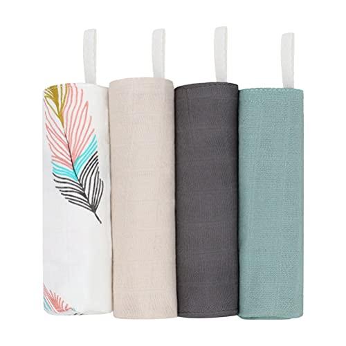 WBTY Toallitas de muselina para bebé, 4 toallas de bebé, reutilizables, rectangulares, de algodón, toalla de baño suave para bebé, para regalo de bebé recién nacido