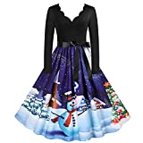 Christmas Long Sleeve Dress for Women V Neck Cocktail Dresses Swing Prom Party dress Santa Reindeer Printed Fall Dresses Blue