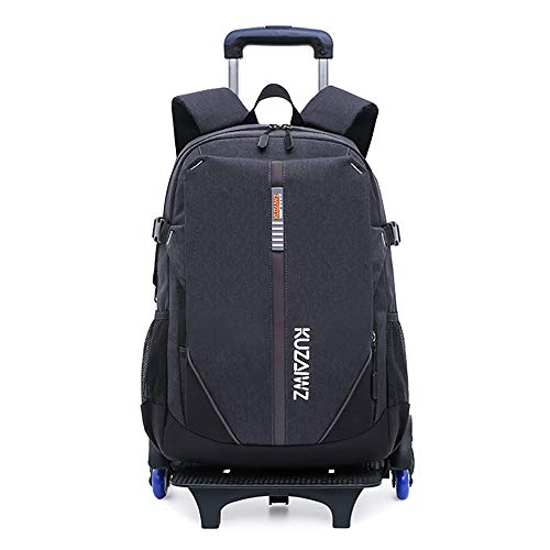 Rolling Backpacks for Kids, School Bags with Wheels Travel Bag Rucksack for Boys Kids Backpack Trolley Bag,Tires with night safety reflectors and flashes-grey-Flashwheel