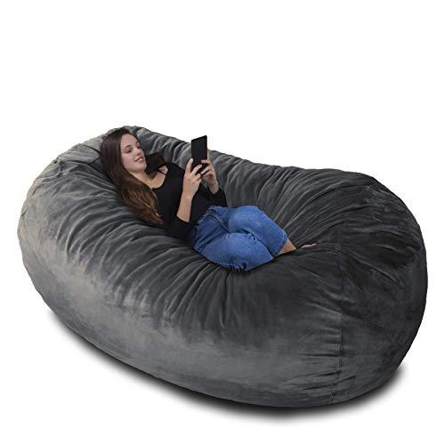 RIESEN SITZSACK MIT VELOUR KUSCHELBEZUG IN PLATIN GRAU! Der größte Sitzsack Europas - 1500 L Memory Schaumstoff Füllung - Gemütliches Sofa, Riesen Bett, Bean Bag für Kinder und Erwachsene