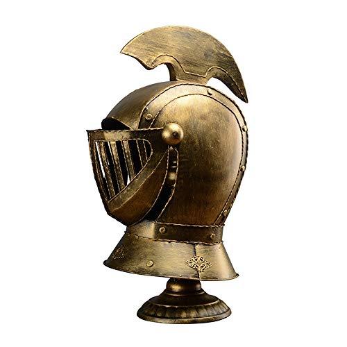 Lámpara de escritorio de casco cerrado europeo medieval Lámpara de mesa de casco templario cruzado Luz de escritorio espartana griega corintia Mesa de luz de caballero antiguo Lámpara de mesilla E27