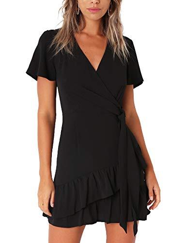 Relipop Summer Women Short Sleeve Print Dress V Neck Casual Short Dresses (Small, T10)
