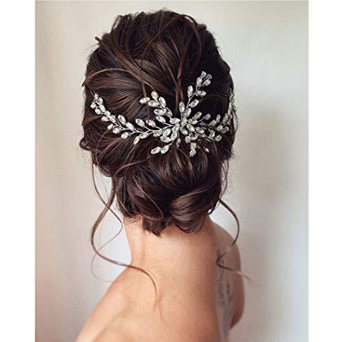 Unicra Braut Hochzeit Haarkamm Kristall Kopfschmuck Braut Strass Haarschmuck für Frauen und Mädchen (Gold)