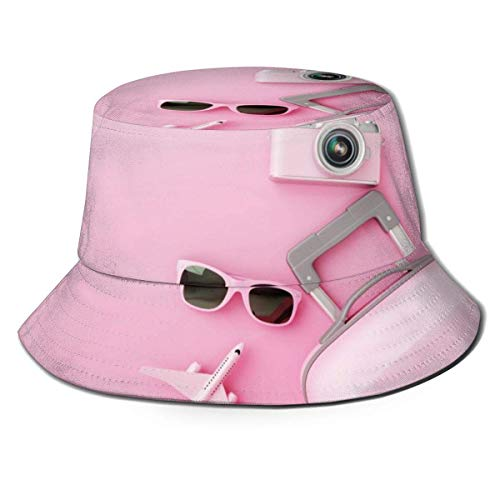 Unisex Flat Lay Pink Maleta Fondo Bucket Hat Sombrero de Pescador Sombrero de Sol al Aire Libre