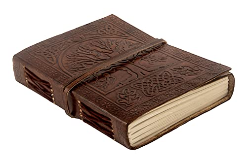 Antique Leather Journal, Leather Bound Writing pad, Celtic Tree of Life Embossed, Spell Book Wicca, Blank Unlined Paper Gift for Travel, Office, Sketching with Wraparound Tie, Brown 7X5 Inches