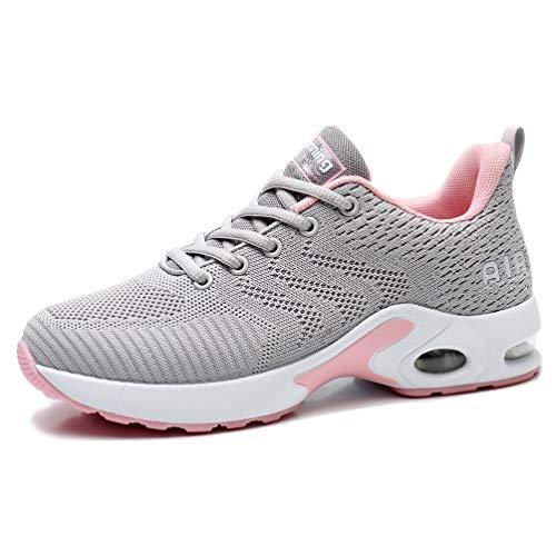 AFFINEST Damen Laufschuhe Air Stoßfest Turnschuhe rutschfest Schnürer Atmungsaktiv Leichte Sportschuhe Outdoor Mesh Sneaker für Jogging Laufen grau 40