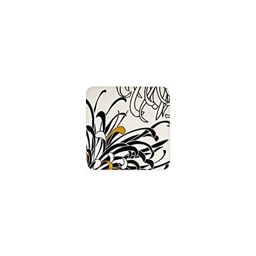 Denby Monsoon Chrysanthemum Untersetzer mit Unterseite aus Kork, 10,5x10,5cm, Schwarz/Gold/Creme, 4Stück