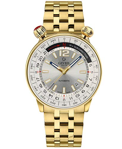 Gevril Men's Wallabout Swiss Automatic Watch with Stainless Steel Strap, Gold, 20 (Model: 48565)