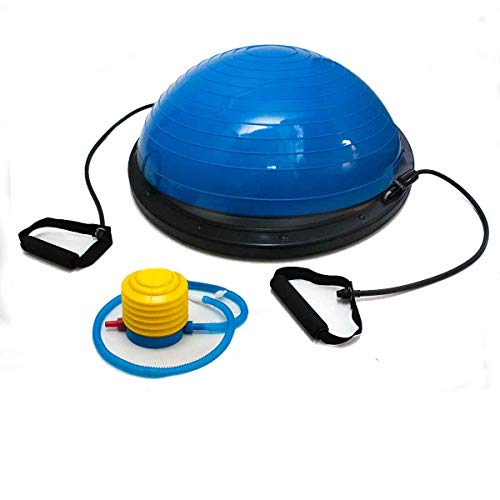 Meia Bola Suiça Yoga Ginástica 60 Cm C/Bomba Alças Fitness Azul