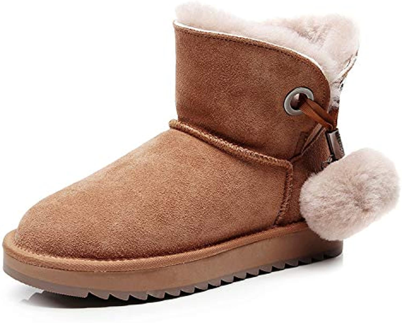 SWEAAY Stiefel Damen Schneestiefel Wildleder Künstliches Plüschfutter Lssige Rutschfeste Stiefel Mit Niedrigem Schlauch Winterwarme Baumwollschuhe