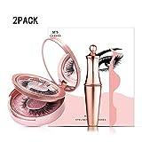 ZUEN 2pack pestañas magnéticos, magnético Delineador de Ojos Kit, Reutilizable Sin Pegamento con aplicador Ultra Delgada de Extensión Suave y cómodo para Las Mujeres Mirada Natural