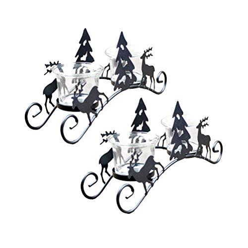 Uonlytech - 2 portavelas Iron Art Candlestick, árbol de Navidad, ciervo, decoración de escritorio, candelabro para el hogar, cafetería, hotel