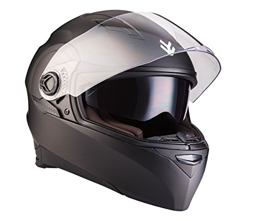 ARMOR Helmets AF-77 Integral-Helm, ECE Sonnenvisier Schnellverschluss Tasche, XL (61-62cm), Matt Schwarz