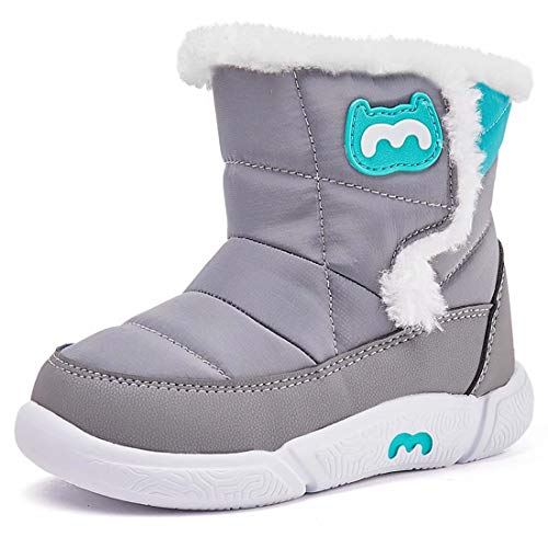 Toddler Snow Boots for Girl Boy Little Kid Winter Outdoor Lightweight Shoes Gray Size 11