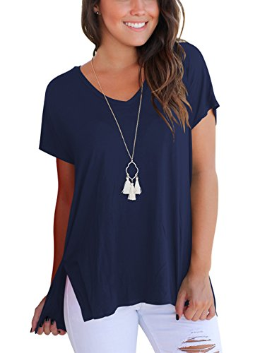 Short Sleeve Tops for Women Casual Loose T Shirt High Low Cotton Tees Navy Blue L