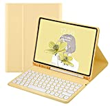 iPad 6 iPad 5 Air 2 Pro 9.7 inch Keyboard Case Cute Round Key Color Keyboard Wireless Detachable BT Keyboard Cover with Pencil Holder for iPad 6th 5th Generation (iPad5/iPad6/Air/Air2/Pro9.7,Yellow)