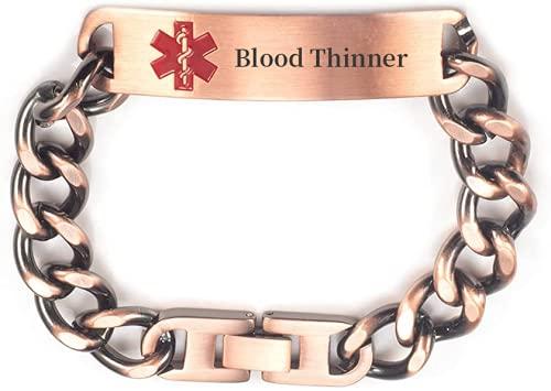 Pulsera de identificación de alerta médica de cadena de cobre puro pregrabada para mujeres y hombres, longitud: 19 – 22 cm ajustable, ancho: 12 mm (diluyente)