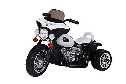 PLAY4FUN Moto de Police Electrique 20W pour Enfants Noir et