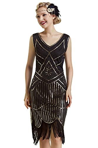 BABEYOND des années 1920 Flapper Sequin perlé Robe de soirée Art Déco des années 1920 des Femmes Flapper Robe Great Gatsby Costume(Noir doré,M)